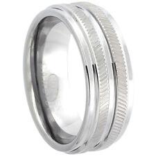 8mm Tungsten Wedding Band Ring w/ Herringbone Pattern,Recessed Edges Comfort Fit