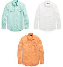 Polo Ralph Lauren Mens Sun Faded Classic Fit Beach Wash Twill Button Down Shirt