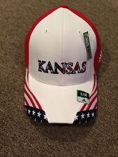 NEW UNIVERSITY OF KANSAS KU JAYHAWKS AMERICAN FLAG FITTED HAT CAP S/M M/L ADIDAS