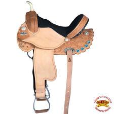 Hilason Flex-Tree Barrel Racing Trail Western Leather Saddle Bling Berry Concho