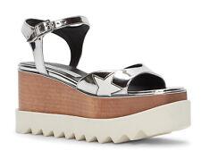 Stella McCartney vegan silver wedges ankle strap sandals shoes