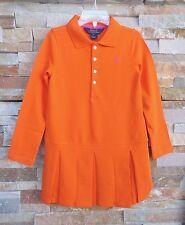 $49.50 Ralph Lauren Sailing Orange Long Sleeves Pleated Girl's Dress Sz 5 Sz 6