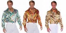 70S 80S MENS DISCO SHIRT SWIRLS COSTUME DANCE SATURDAY NIGHT FEVER PIMP SHINY