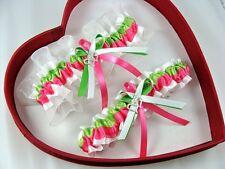 *New Sexy Apple Green Hot Pink White Wedding Garter - GetTheGoodStuff