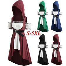 Medieval Women Short Sleeve Off Shoulder Vintage Hooded Dress Cosplay Costume