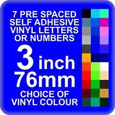 7 X 3 Pulgadas o 76mm Auto Adhesivo Vinilo Letras o Números
