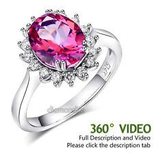 14K White Gold Wedding Engagement Ring 2.8 Ct Pink Topaz 0.35 Ct Natural Diamond