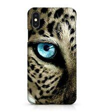 PUISSANT BLEU SAPHIR EYED noir à pois VELU léopard visage étui de téléphone