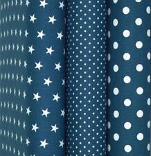Baumwollstoffe Jeansblau Meterware Stoff Uni Punkte Sterne Karo Patchwork 9,96€m