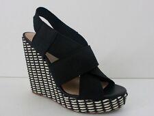 Womens Lucky Brand Fabric Black High Platform Wedge Heel Shoe Size  8.5 M NIB