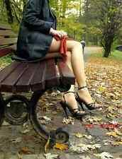 SEXY sandali domina NERO lucido cinturino tacco 15 dal 35 al 44 Fashion GLAMOUR