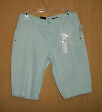 Calvin Klein Jeans women's minty glow green walking knee shorts cotton 8 $49.50