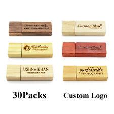 Bulk Lot 30 1/2/4/8GB Wooden USB2.0 Flash Drive Memory Stick Engraved Logo Gift