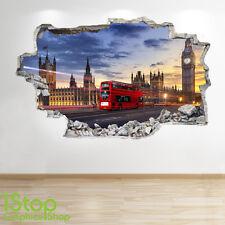 LONDON WALL STICKER 3D LOOK - BEDROOM LOUNGE LONDON BUS WALL DECAL Z6