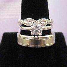 Micro Pave Astori Cut Ring Wedding Set His Titanium Ring Multigrain Satin 7mm &