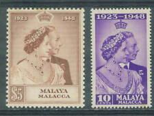 Malacca 10c & $5 Royal silver Wedding 1.12.1948 MNH
