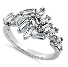 Sterling Silver 925 Baguette CZ Engagement Ring Cluster Baguette Band Ring R47