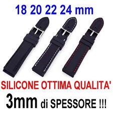 CINTURINO OROLOGIO SILICONE 18mm 20mm 22mm 24mm NERO ROSSO BIANCO GOMMA MORBIDA