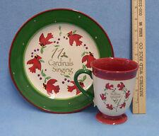 Everyday Gibson Christmas Plate & Coffee Mug 11 Singing Cardinals Xmas Birds