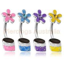 Gem Flower Pot Belly Button Navel Bar Piercing Ring CHOOSE SINGLE OR BULK PACK