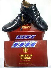 Nuevos Zapatos de Cardo Ghillie Brogue Kilt Suela de Cuero Negro