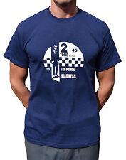 Locura el Príncipe Azul Marino T Shirt 2 tonos Ska Cabeza Rapada Mods ofertas especiales Rude Boys