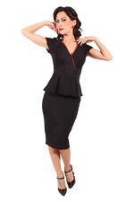 40s Pencil Schößchen Pin Up RETRO Rockabilly Etuikleid Kleid sw