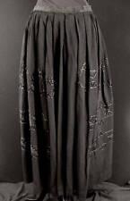 Rare French Edwardian Black Embroidered Rayon Skirt Sz5