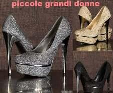 scarpe donna decollete decoltè con brillantini strass plateau tacchi alti 15027