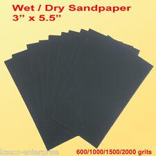 """3"""" x 5 1/2"""" Wet Dry Sandpaper Sanding Paper Abrasive 600/1000/1500/2000 Grit"""