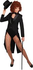schwarzer Frack mit Satinkragen zum Damen Kostüm Karneval Fasching