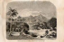 Stampa antica SUD SUDAN territorio del fiume Sobat South Sudan 1862 Old print