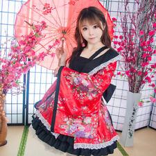 Hellgirl Cosplay Kostuem Costume Kimono Japan Schwarz Rot Red Lolita wafuu Maid
