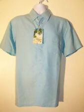 Milano Bay Hawaiian Sky Blue Plaids Men's Shirt NEW NWT