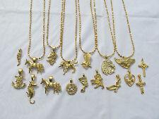 "22k GP Charm Necklace Eagle Nefertiti Unicorn Cross Anchor Dove Lion 20""Chain"