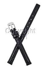 8 mm Black Leather Watch Band Lizard Grain W Spring Bar