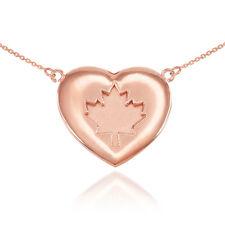 14k Solid Rose Gold Engrave Maple Leaf Heart Pendant Necklace