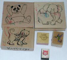 Lot of six animal rubber stamps panda elephant cat hummingbird lamb