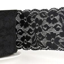 La Stephanoise Black 60mm Wide Stretch Elastic Lace Ribbon Cut Lengths 014