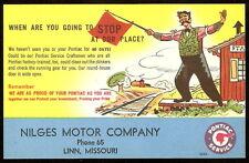 1952 PONTIAC SERVICE Train Station RR Nilges Motor Linn MO Advertising Postcard