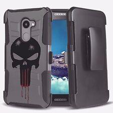 Punisher Spartan Skull Hybrid Armor Belt Clip Rugged Phone Case ALCATEL Series