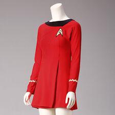 Classic Star Trek Female Duty TOS Red Uniform Dress Cosplay Costume Adult New