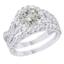 10k White Gold 3.25 Ct Genuine Moissanite Engagement Bridal Set Ring Jewelry