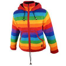 Damen Regenbogen Strickjacke Goa Wolle Jacke mit Fleecefutter und Zipfelkapuze
