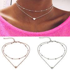 2 STÜCK ! silber + gold Doppel Kette Damen Halskette Herz Blogger kurz Statement