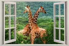 GIRAFFES FOREST 3D Window View Decal WALL STICKER Decor Art Mural Animals H76