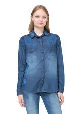 Desigual Long Sleeved Blue Embroidered Denim Colour Shirt XS-XXL UK 8-18 RRP?84