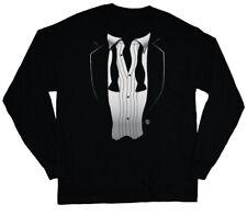 long sleeve t-shirt for men loose tie tuxedo funny tux wedding groom tee shirt