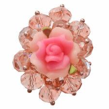 Bague cristal facettes ROSE fleur rose fimo réglable Taille 56 58 60 62 64 66