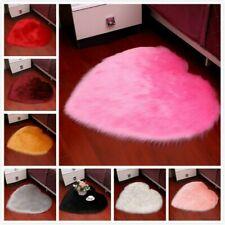 Bedroom Plush Area Rugs Mat Faux Wool Fur Luffy Heart Shape Blanket Non Slip Pad